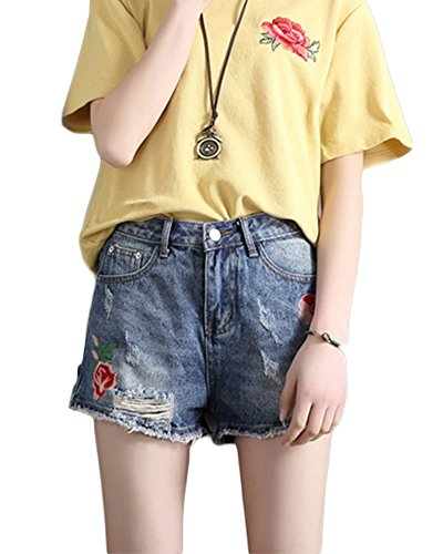 Yonglan Damen Fashion Gestickte Shorts Jeans Stretch Schlanke Gerade Shorts Hohe Taille Hot Pants Blau L