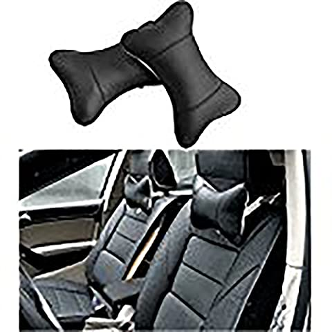 Anne® Black Leather Dog Bone Shape Car Neck Pillow Neck Support Travel Cushion With Super Soft Foam Insert. Great For Modern Harder Car Seats. Prevents The Pain And Stiffness In Your Neck When Sitting In The Car Train Or Plane. Available With Leather Feel Cover And Elasticated Strap (2