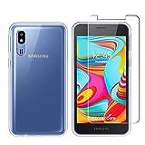 LJSM Funda para Samsung Galaxy A2 Core Transparent + Protector de Pantalla Cristal Templado Film...
