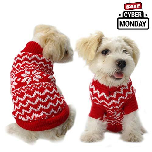 Machen Sie Perfekt Hund Kleidung Weihnachten Schneeflocke Pullover Haustier Kleidung Anzug für Hunde Sweater Knit Kleidung, Large, Rot (Schlechte Weihnachten Pullover)