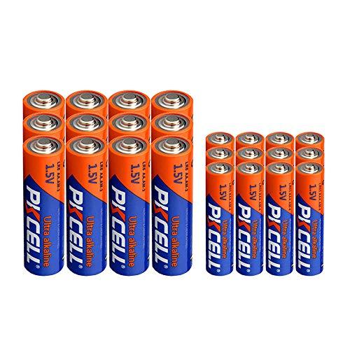 12 unidades pilas AA LR6 + 12 unidades pilas LR03 AAA Pilas alcalinas secas de 1,5 V