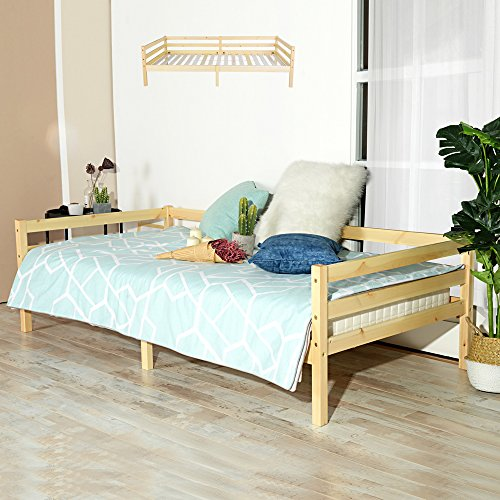 Fanilife letto singolo in legno telaio letto divano letto per gli ospiti daybeds per soggiorno wood