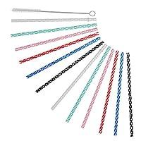 "ALINK 10.5"" Long Reusable Hard Plastic Straws, Tumblers Replacement Drinking Straws for 32 oz & 20 oz Yeti, RTIC, Mason Jar, Starbucks, Tervis, Ninja OZARK, Set of 12 with Cleaning Brush"