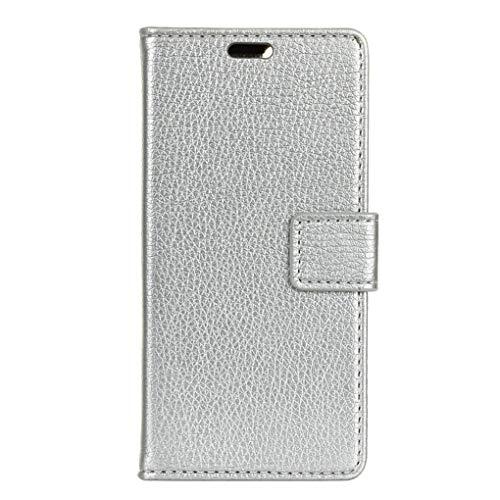 Für Wileyfox Spark X Hülle, Premium PU Leder Schutztasche Klappetui Brieftasche Handyhülle, Standfunktion Flip Wallet Case Cover - Silber