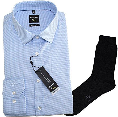 OLYMP Herrenhemd No6 six, super slim, Urban Kent, hellblau, Faux uni + 1 Paar hochwertige Socken, Bundle Blau