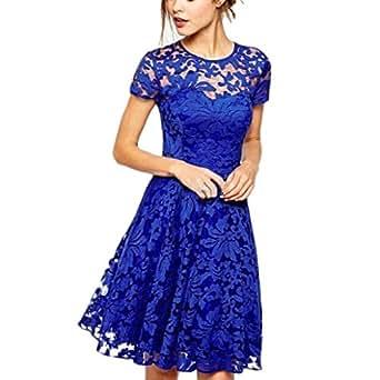 Malloom® Donna Vestito da Sera Sexy Vestito da fiore Partito Abito Senza Spalline Mini Vestito Pizzo Sottile (Blu, L)