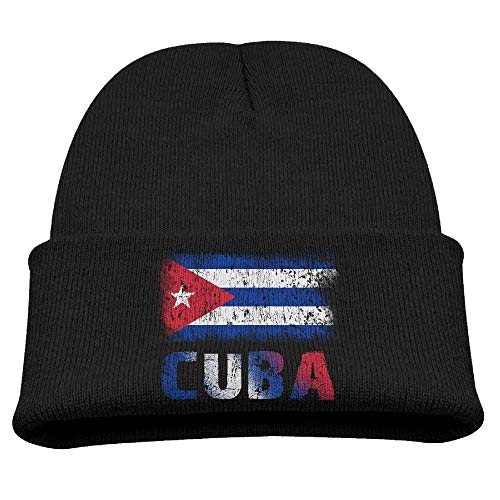 (Grunge Cuban Flag Unisex Kids Warm Winter Hat Knit Beanie Skull Cap Cuff Beanie Hat Winter Hats Black)