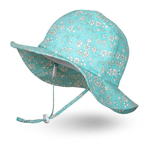 Ami&Li tots Mädchen Sonnenhut Verstellbarer Hut mit breiter Krempe Sonnenschutz UPF 50 für Baby Mädchen Jungen Säugling Kind Kleinkind Unisex - L: Cyan Fleurette