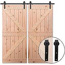 365CM/12FT Puerta de granero corredera estilo rústico puerta de granero corredera de madera para
