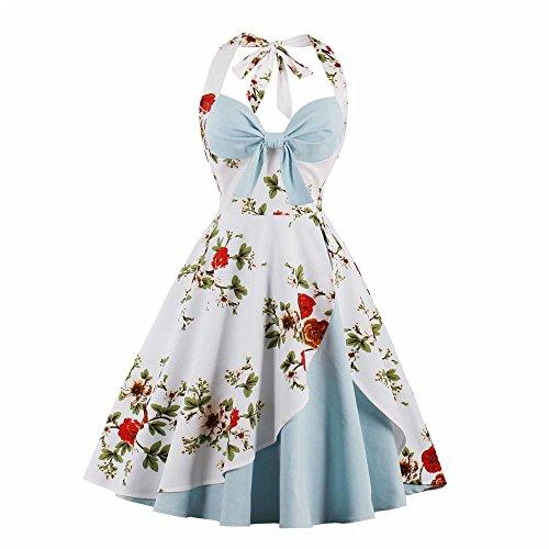 Damen Retro Kleider Sommer Swing Kleid Neckholder V-Ausschnitt Bowknot Dekoration Sleeveless Floral Glänzend Kleid Plissee Rockabilly Cocktail MidiKleid Tee Kleid(XXX-Large) -