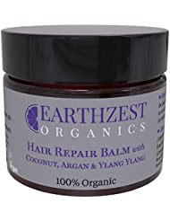 Hair Conditioning Mask - As Seen in Daily Mail - 100% Organic Fast Acting Repair Conditioner With Coconut and Argan Oil. Everyday Moisturiser to Nourish, Protect, Smooth, Re-Balance & Restore Shine, Volume & Elasticity. Use as Deep Rescue Treatment Overnight - Best For Afro, Coloured, Curly, Dry & Damaged Hair. Helps to Heal & Soothe Your Scalp. Sulphate/Sulfate Free. Highly Effective & Concentrated (use a Nail Size Amount). By Earthzest Organics - 50ml - Ideal Gift - Love it or Your Money Back!