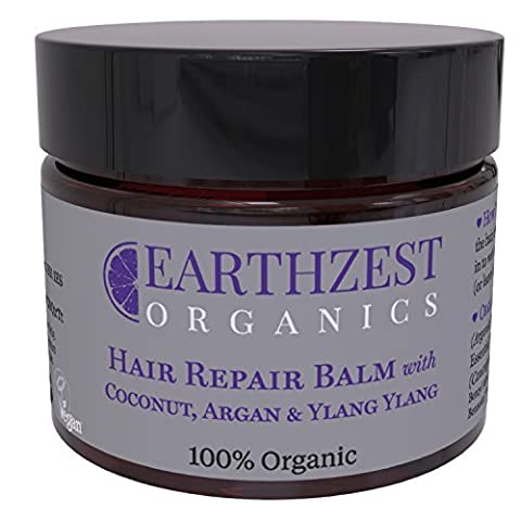 Hair Conditioning Mask - As Seen in Daily Mail - 100% Organic Fast Acting Repair Conditioner With Coconut and Argan Oil. Everyday Moisturiser to Nourish, Protect, Smooth, Re-Balance & Restore Shine, Volume & Elasticity. Use as Deep Rescue Treatment Overnight - Best For Afro, Coloured, Curly, Dry & Damaged Hair. Helps to Heal & Soothe Your Scalp. Sulphate/Sulfate Free. Highly Effective & Concentrated (use a Nail Size Amount). By Earthzest Organics - 50ml - Ideal Gift - Love it or Your Money