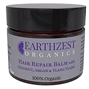 Hair Mask, 100% Organic Fast Acting Repair Coconut and Argan Oil Conditioner. Use as Deep Rescue Treatment Overnight. Sulphate/Sulfate Free - 50ml