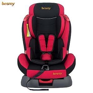 besrey Seggiolino Auto Cintura a 5 Punti, Protezioni Laterali, Frontali e Posterioli da 9 a 25 kg(6mesi-7anni), Gruppo 1/2, Certificazione di Sicurezza ECE dell' UE Rosso Nero