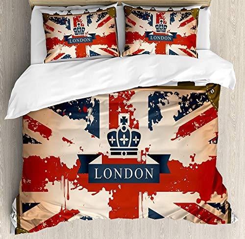 Set copripiumino biancheria da letto 3 pezzi Union Jack, valigia da viaggio vintage con bandiera britannica, nastro e immagine di corona di Londra, set 3 pezzi trapunta / copriletto Qulit con 2 federe