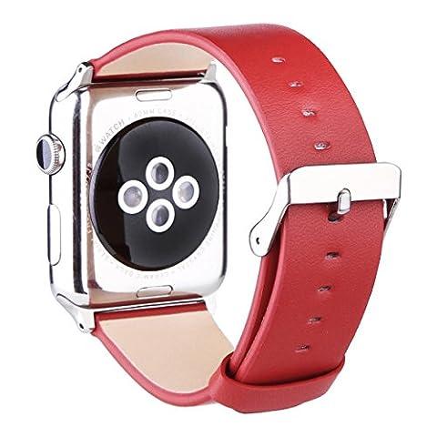 Apple Watch Armband 38mm, Echtes Kalbsleder Uhrenarmband für Apple Watch Series 1 Series 2 mit Edelstahlschnalle, Rot