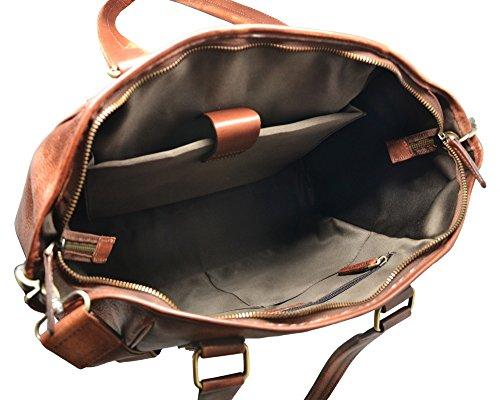 DARBY Reisetasche Aktentasche Mann Frau Laptop ipad mit verstellbarem Schultergurt im Alter von italienischem Leder Cognac