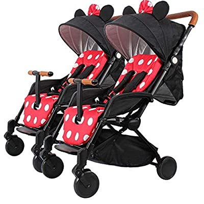 CCJW Double Strollers Baby Pram Tandem Buggy Newborn Pushchair Ultra Light Folding Child Shock Absorber Trolley Can Sit Half Lying 0-3 Years Old(Maximum Loadable 50Kg Baby),Minnie