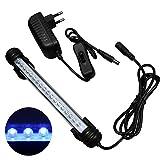 Mingdak LED Aquarium-Licht-Kit für Fischtank, Unterwasser-Tauchkristallglas-Leuchten, geeignet für Salzwasser und Süßwasser, 18 Leds, 7,5-Zoll, Beleuchtungsfarbe Blau