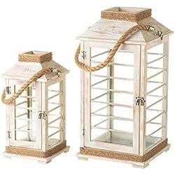 Set de 2 faroles portavelas rústicos grises de madera para decoración Sol Naciente - Lola Derek