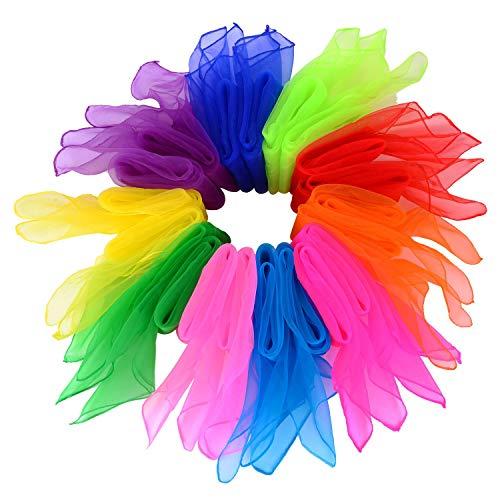 Tanz Tücher,20er Pack Bunt Jongliertücher Square Seidentücher Tanz Jonglier Tücher Schals für Kindergarten Kinder Mädchen Mädchen zeigen Belly Dance 60 * 60cm 10 Farben