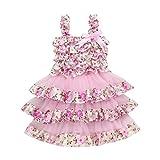 Mitlfuny Kleinkind Baby Kind Mädchen Sommer Kinder Mädchen Kinder Spitze Gaze Blumenzwiebeln Prinzessinenkleid (5T, Rosa)