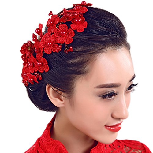 Mariage Fleur Strass s nuptiale de dentelle Bandeau Accessoires cheveux, H