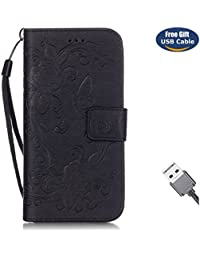Aireratze Funda iPhone 6S,Cover iPhone 6, Estilo Billetera Libro Cuero,PU Leather TPU Silicona Soporte Ranuras Tarjetas Billeterapara iPhone 6S/iPhone 6 (Negro)