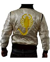 DRIVE SCORPION BOMBER HARRINGTON QUILTED SATIN JACKET HAVE GOLDEN SCORPIO AT BACKSIDE