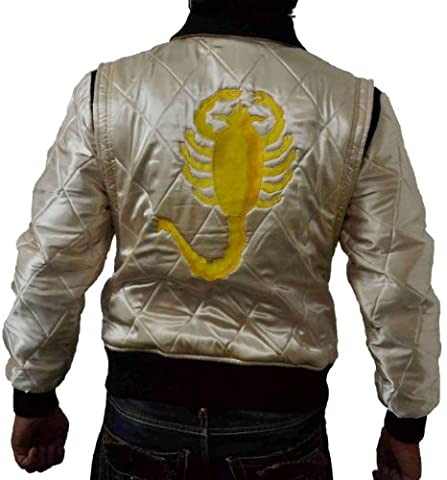 DRIVE SCORPION BOMBER HARRINGTON QUILTED SATIN JACKET HAVE GOLDEN SCORPIO AT BACKSIDE (S)