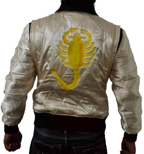 Harrington Bomberjacke mit goldfarbenem Skorpion auf Rücken, Herren,m gesteppt, Satin Gr. M, (Drive Kostüm Gosling)