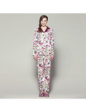 DMMSS Sig. ra autunno e inverno cotone manica lunga moda tempo libero casa pigiama tuta , xxl