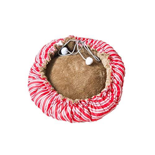 JXLBB Red Stretchable Pumpkin Nest Teddy Kennel Kleine mittelgroße Kennel Katzenstreu Mat Herbst und Winter Coral Fleece Baumwolle Nest