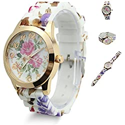Estone Hot Fashion Women Dress Watch Silicone Printed Flower Causal Quartz Wristwatches (Hot Pink)