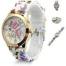 Estone calientes de moda mujer vestido reloj silicona impresas flor Causal cuarzo relojes de pulsera, hot pink