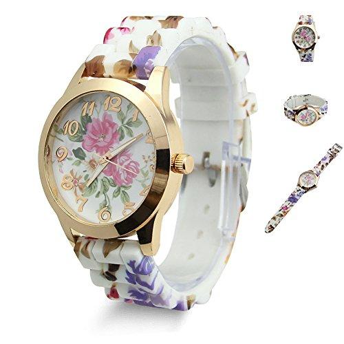 Estone-Hot-Fashion-Women-Dress-Watch-Silicone-Printed-Flower-Causal-Quartz-Wristwatches-Hot-Pink