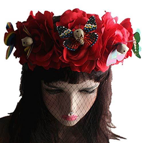 EXQUILEG Tag der Toten Haarreif Halloween Masquerade Kopfschmuck mit Skelett, Schleier und Rose (Rot) (Der Toten-stirnband Tag)