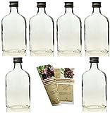 gouveo 24 leere Glasflaschen Flachmann 200 ml incl. Schraubverschluss und Flaschendiscount-Rezeptbroschüre zum selbst Abfüllen Likörflasche Schnapsflasche
