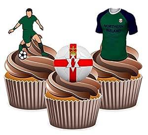 Euro 2016Nordirland Fußball Mix–essbar Stand-up Cup Cake Topper (Pack von 12)