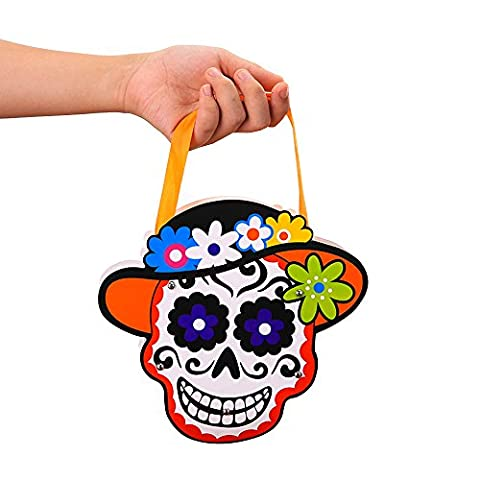 Halloween Candy Bag for Kids,BAFFECT® DIY Halloween Skeleton Candy Bucket Candy Handbag Paper Candy Boxes for Chirstmas Kids School Halloween (Skeleton)