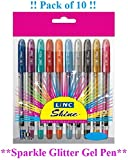 10 x EXTRA SPARKLE GLITTER GEL PENS FINE 0.7 mm Tip 10 Vibrant Colour