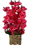 #8: KAYKON Beautiful Artificial Flowers Orchid Flower Bunch with Designer Wooden Pot Flowers For Home Decoration - 16 inch/40 cm (Red)