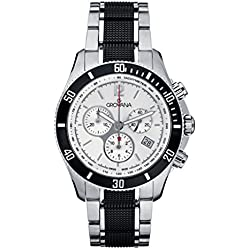 GROVANA 1615.9172 Men's Quartz Swiss Watch with Silver Dial Chronograph Display and Silver Stainless Steel Bracelet