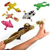 Finer Shop 6Pcs Plush Slingshot Flingshot Flying Animals Toy with Sound Monkey Frog Chicken Duck Pig Cow For Kids