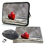 PEDEA Design Schutzhülle Notebook Tasche bis 17,3 Zoll (43,9cm) mit Mauspad und schnurloser Maus, Love