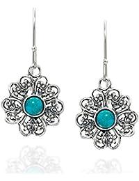 Filigrana flor 925pendientes de plata de ley turquesa reconstituida con moda joyería de las mujeres