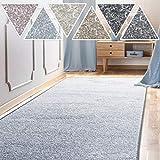 casa pura Teppich Läufer Sundae   Meterware   Teppichläufer für Wohnzimmer, Flur, Küche usw.   kuschlig weich   mit Stufenmatten kombinierbar (Hellblau - 80x200 cm)