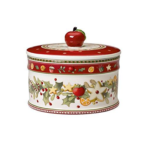 Villeroy & Boch Winter Bakery Delight Scatola Pasticceria, Porcellana, Bianco/Rosso, Mezzo