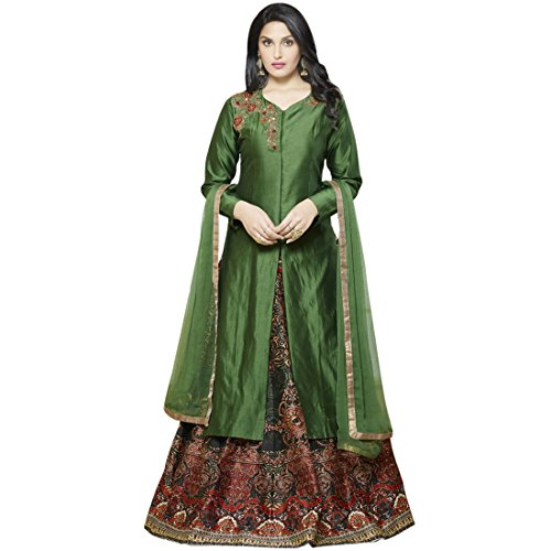 SHELINA Women's Green Silk Embroidered Semi-Stitched Partywear Salwar Suit