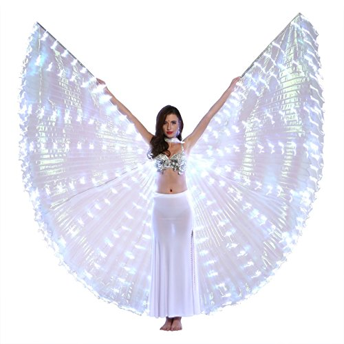 Dance Fairy Bauchtanz LED Isis Flügel Mit Stöcke/Stangen (Weiß) (Weiß Und Gold Engel Kostüm)